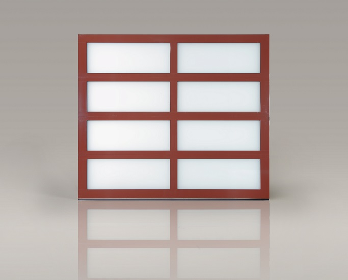 Clopay Avante Collection Red Garage Door with Frosted Glass